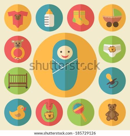 baby shower icons set, flat design vector - stock vector
