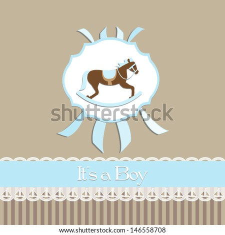 Baby Shower Invitation Baby Boybeige Background Stock Vector 2018