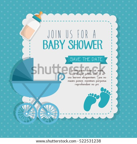 Baby shower invitation card stock vector 522531238 shutterstock baby shower invitation card stopboris Image collections