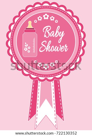 Baby shower invitation card baby girl stock vector 722130352 baby shower invitation card baby girl arrival shower greeting announcement card with filmwisefo