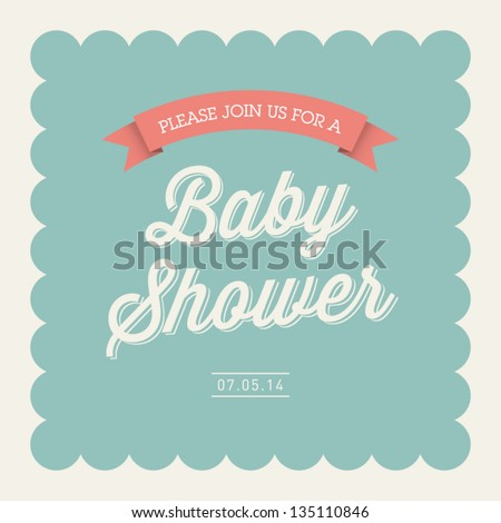 Baby shower invitation card editable with type, font, ribbon, frame border vintage - stock vector