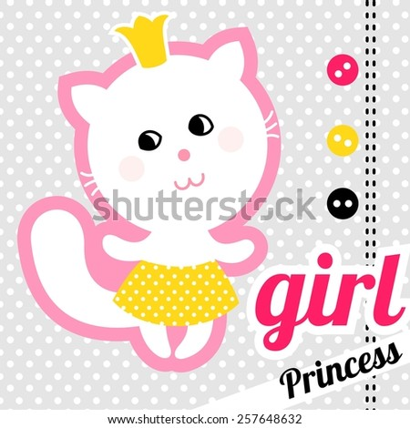 Baby shower invitation card kitty girl stock vector 257648632 baby shower invitation card kitty girl stopboris Images