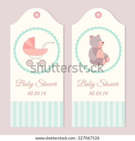 Baby shower invitation card templates with stroller and teddy bear - stock vector