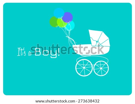 baby shower invitation card, vintage baby carriage and colorful balloons to announce the birth of a little man - stock vector