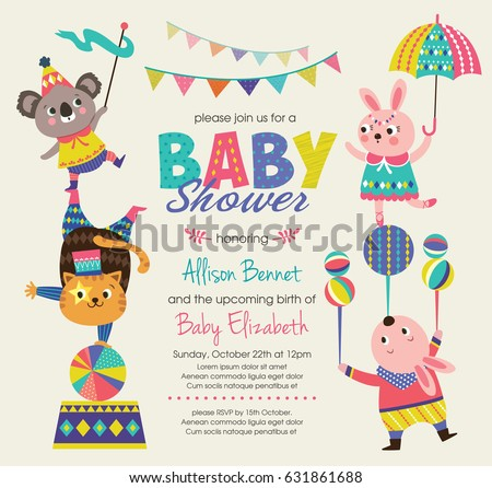 baby shower invitation card circus theme stock vector royalty free