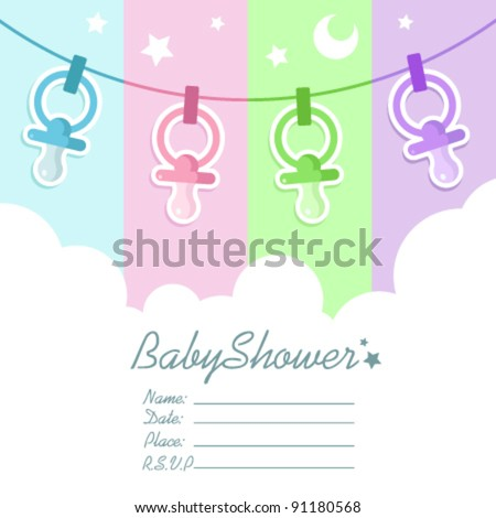 Baby Shower Invitation Card with Clouds and Pacifiers - stock vector