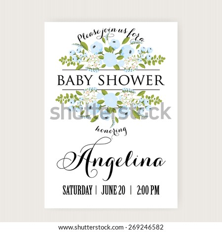 Baby Shower Invitation Card with Flowers - stock vector