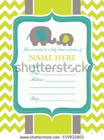 Baby shower invitation elephants - stock vector