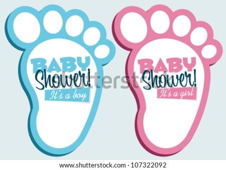 Baby Shower Invitation Feet - stock vector
