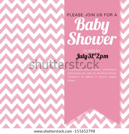 Baby shower invitation baby girl pink em vetor stock 151652798 baby shower invitation for a baby girl pink and white chevron background vector illustration stopboris Image collections
