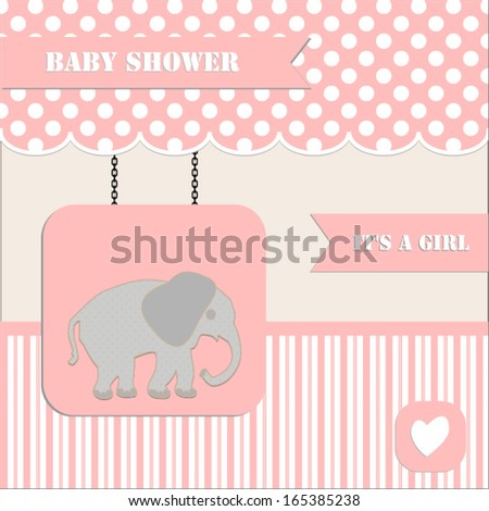 Baby shower invitation baby girl polka stock vector royalty free baby shower invitation for baby girl polka dot and stripe background with elephantctor filmwisefo