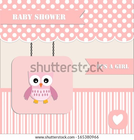 baby shower invitation, for baby girl polka dot and stripe background with owl.Vector eps10,illustration.Raster also available.