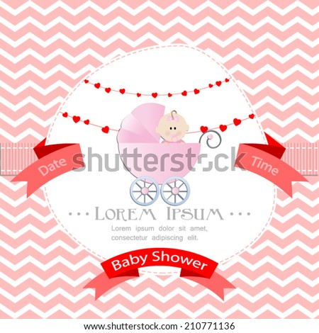 baby shower invitation for girl.Pink chevron background with stroller.Vector eps10,illustration. - stock vector