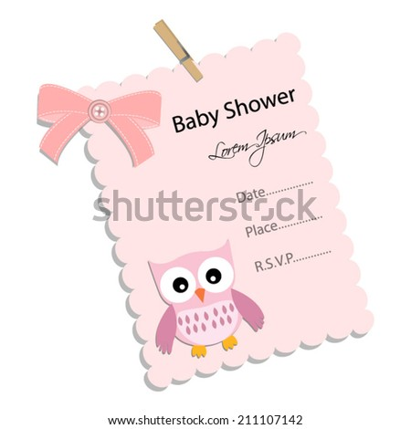 baby shower invitation for girl.Pink note with owl .Vector eps10,illustration. - stock vector