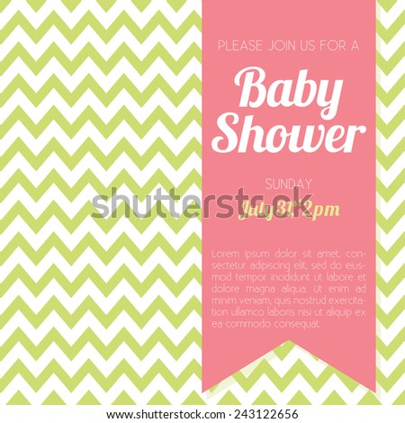 Baby Shower Invitation - green and white chevron background - vector illustration EPS10  - stock vector