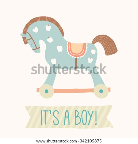Baby shower invitation its boy cute stock vector 342105875 baby shower invitation its a boy cute toy horse with wheels kids filmwisefo Gallery