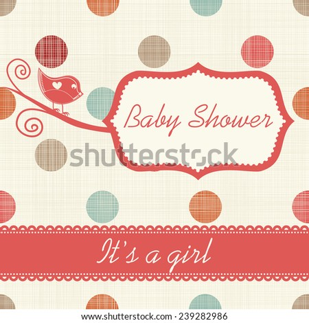 """Baby shower invitation """"It's a girl"""" - stock vector"""