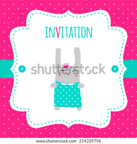 Baby shower invitation. Little bunny princess and white vintage frame on a hot pink polka dot background