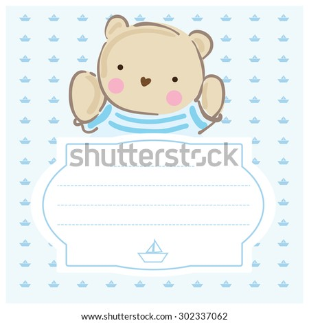 Baby Shower Invitation Template Gray Blue Stock Vector 302337062 ...