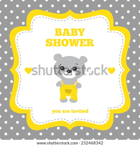 Baby Shower Invitation Template Gray Yellow Stock Vector 232468342 ...