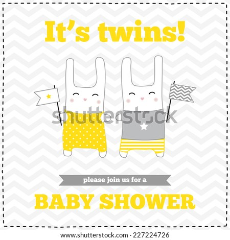 Baby shower invitation, template. Gray, yellow, white colors. Illustration of twins bunnies with flags. - stock vector