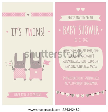 Baby shower invitation, template. Illustration of twins bunnies with flags. - stock vector