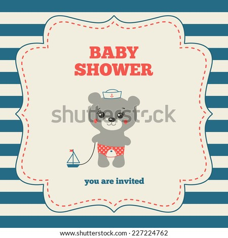 Baby shower invitation, template. Nautical design. Red, blue and cream colors. Illustration of little mariner teddy bear. Vintage frame on striped background - stock vector