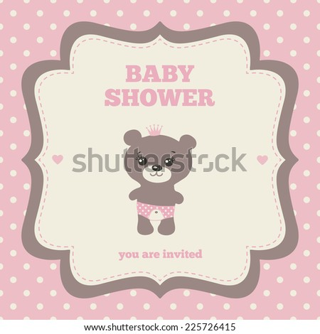 Baby Shower Invitation Template Pink Brown Stock Vector - Pink baby shower invitation templates