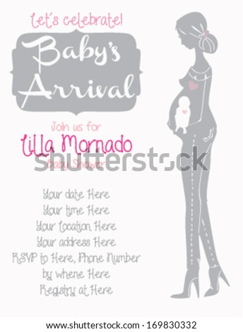 Baby shower invitation template pregnant silhouette stock photo baby shower invitation template pregnant silhouette filmwisefo