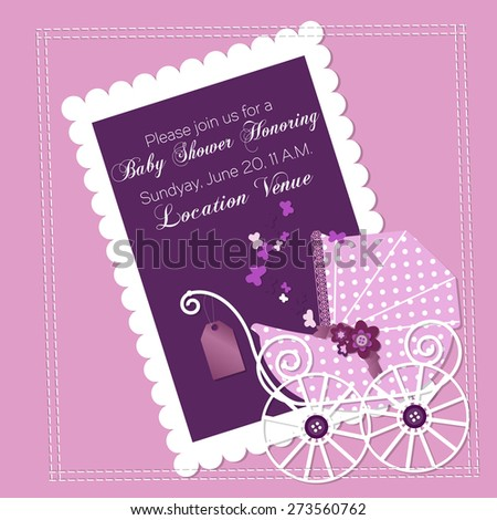 Baby shower invitation template vector illustration stock vector baby shower invitation template vector illustration happy birthday card for newborn baby girl with a filmwisefo