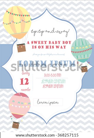 Baby Shower Invitation Template Chevron Background Stock Photo ...