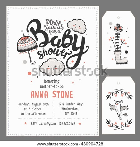 Baby Shower Invitation Template Hand Lettering Stock Vector - Print at home baby shower invitation templates