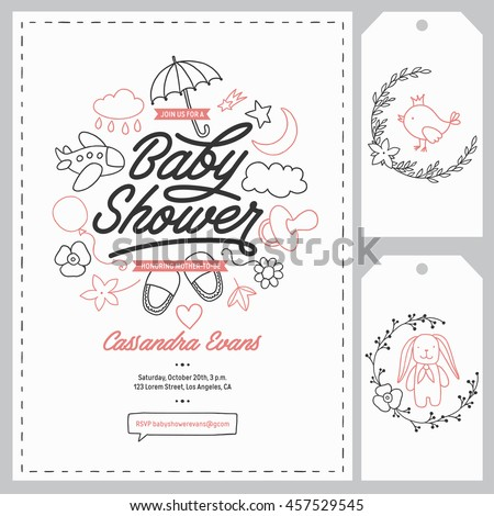 Baby Shower Invitation Templates Set Floral Stock Vector 457529545