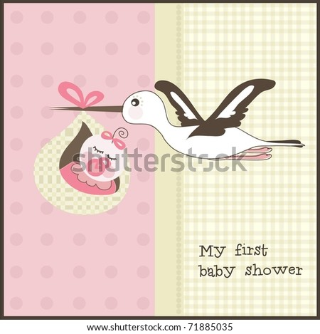 Baby shower invitation, vector - stock vector