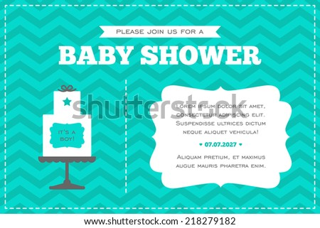 Baby shower invitation. White, gray and azure colors. Illustration of baby cake on a chevron background. - stock vector