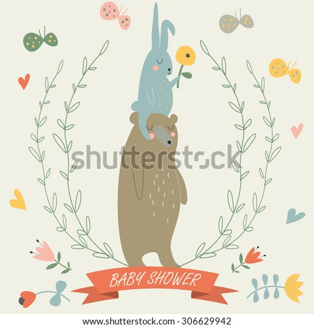 Baby shower invitation with cute bear, bunny, laurels, butterflies and flowers in cartoon style - stock vector