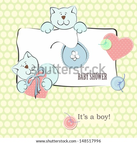 Baby Shower Invitation with Polka Dot Background. Background for little baby boy.