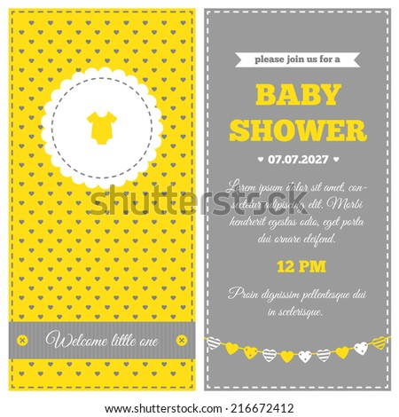 Baby shower invitation. Yellow, white and gray colors. Frame with symbol of rompers on a background with little hearts pattern. - stock vector