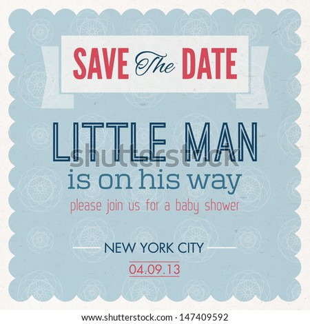 Baby Shower. It's A Boy Invitation Vintage Card - stock vector