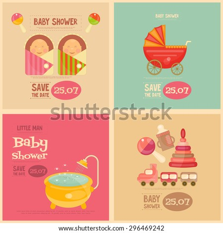 Baby Shower Mini Posters Set. It's a Boy! It's a Girl! Vector Illustration.  - stock vector
