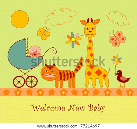 Baby shower or arrival card - stock vector