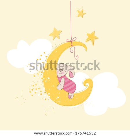 Baby Shower or Arrival Card - Sleeping Baby Bunny - in vector - stock vector