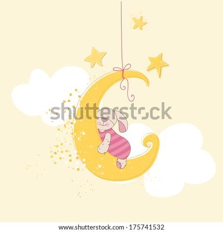 Baby Shower or Arrival Card - Sleeping Baby Bunny - in vector - stock vector