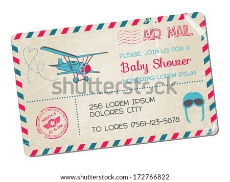 Baby Shower or Arrival Postcard - with Plane in vector - stock vector