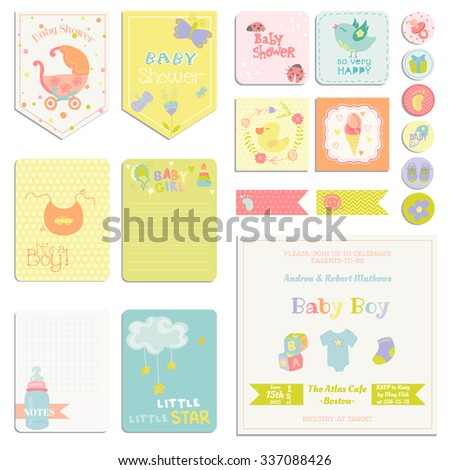 Baby Shower or Arrival Set - Tags, Banners, Labels, Cards - in vector - stock vector