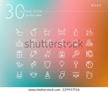 Baby shower outline icons set for web and mobile app. EPS10 vector file organized in layers for easy editing. - stock vector
