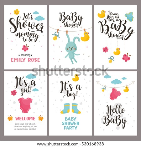 stock vector baby clothes baby boy shower invitation card