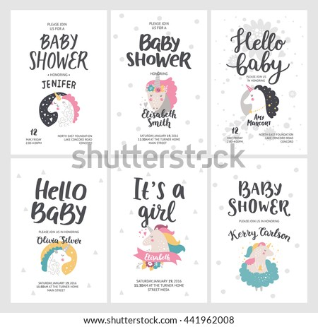 Baby shower posters vector invites cards stock vector 441962008 baby shower posters vector invites cards with cute unicorns and hand drawn font on stopboris Choice Image