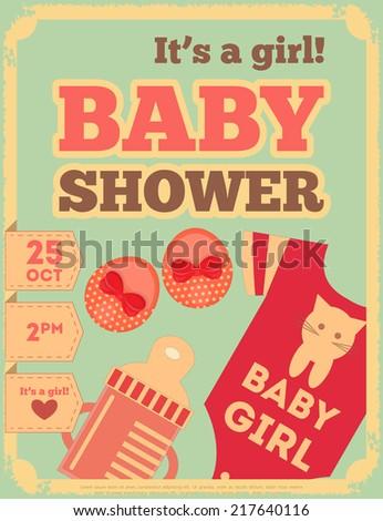 Baby Shower Retro Poster. It's a Girl! Vector Illustration.  - stock vector