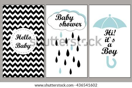Baby shower vector set invitation template for boys. Hello Baby! Hi! It`s myboy! Vector illustration chevron disign. - stock vector